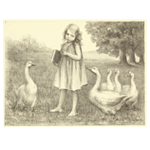 Young girl with geese print