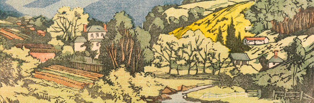 Detail from a linocut print of Mt Wellington by Lily Allport