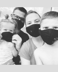 Wearing face masks. Image courtesy Hrenchir-Friedman Family